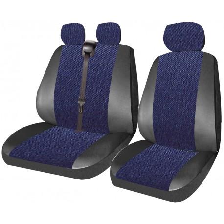 Housse de siège  utilitaire jeans bleu + bords simili  3 places
