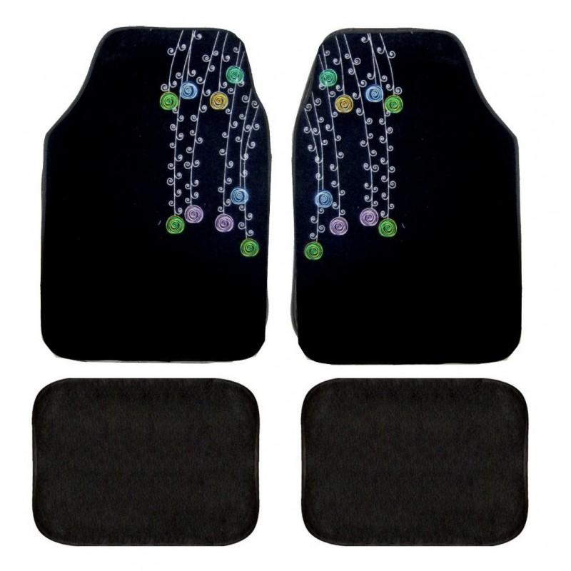 tapis auto tapis de sol universel broderie bouquet. Black Bedroom Furniture Sets. Home Design Ideas